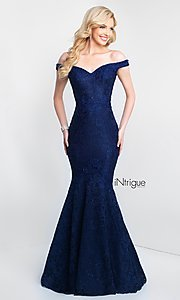 Image of off-the-shoulder long lace mermaid prom dress. Style: BL-IN-425 Detail Image 3