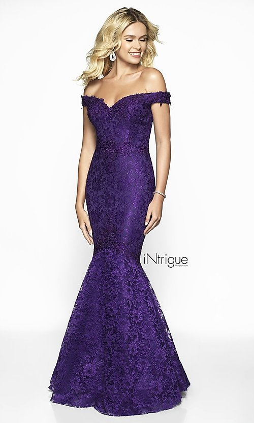 Image of off-the-shoulder long lace mermaid prom dress. Style: BL-IN-425 Detail Image 6