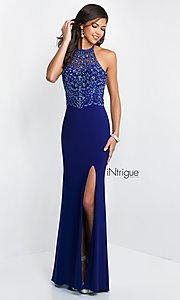 Intrigue by Blush Halter Prom Dress