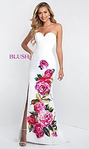 Image of strapless pink-floral-print prom dress by Blush. Style: BL-C1038 Detail Image 1