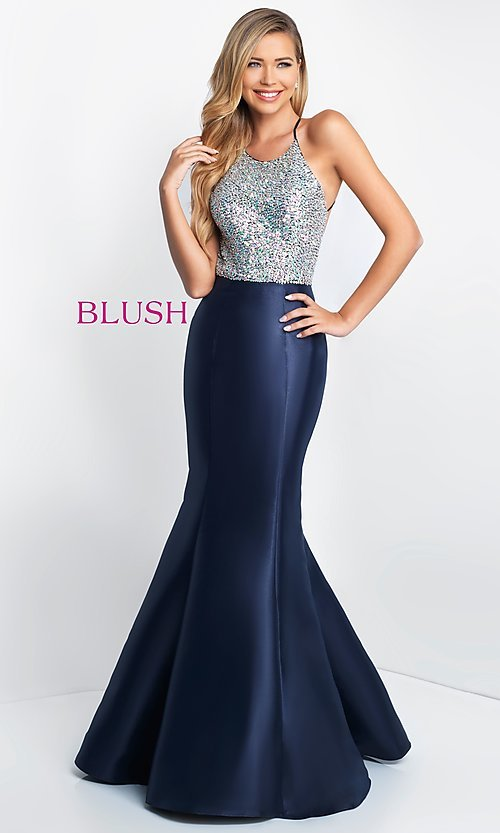Image of backless long mermaid prom dress by Blush. Style: BL-C1013 Front Image