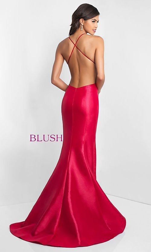 Image of backless long mermaid prom dress by Blush. Style: BL-C1013 Back Image
