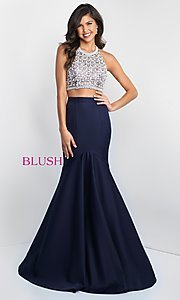 Two-Piece Halter Prom Dress by Blush