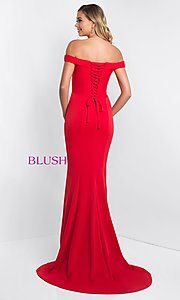 Image of off-the-shoulder long corseted prom dress by Blush. Style: BL-C1026 Back Image