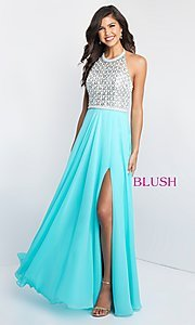 Blush Long Halter Prom Dress