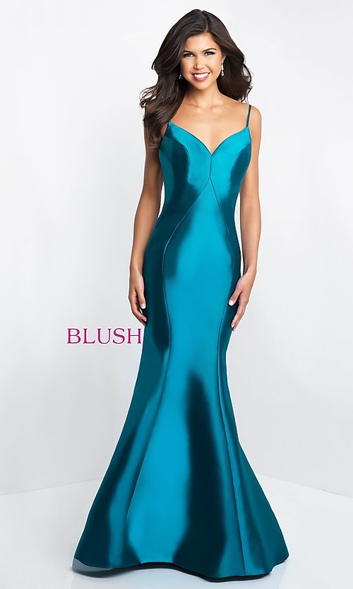 Image of Blush v-neck long open-back prom dress. Style: BL-C1050 Front Image