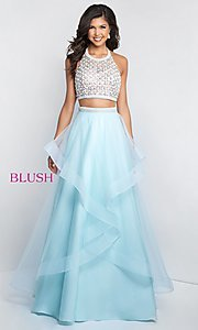 Two-Piece Long Halter-Top Prom Dress