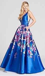 Long Print A-Line Prom Dress with Open Sides