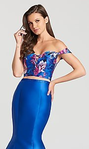 Image of long print prom dress from Ellie Wild by Mon Cheri Style: TB-EW118002 Detail Image 1
