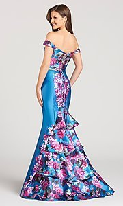 Image of long print prom dress from Ellie Wild by Mon Cheri Style: TB-EW118002 Back Image