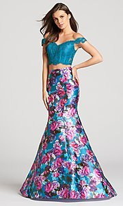 Two-Piece Print Off-the-Shoulder Prom Dress