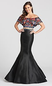 Long Embroidered Two-Piece Prom Dress with a Blouson Top