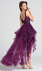 Image of deep-v-neck prom dress with high-low ruffled skirt. Style: TB-EW118035 Back Image