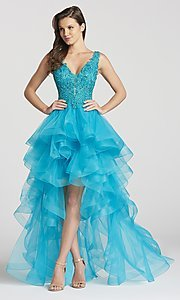 Image of deep-v-neck prom dress with high-low ruffled skirt. Style: TB-EW118035 Detail Image 2