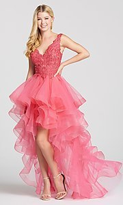 Image of deep-v-neck prom dress with high-low ruffled skirt. Style: TB-EW118035 Detail Image 3