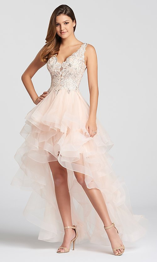 Image of deep-v-neck prom dress with high-low ruffled skirt. Style: TB-EW118035 Detail Image 1
