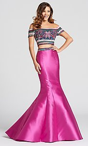 Two-Piece Prom Dress with a Lace-Up Open Back