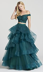 Image of two-piece long prom dress with layered a-line skirt. Style: TB-EW118040 Detail Image 1