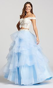 Two-Piece Long Prom Dress with Layered A-Line Skirt