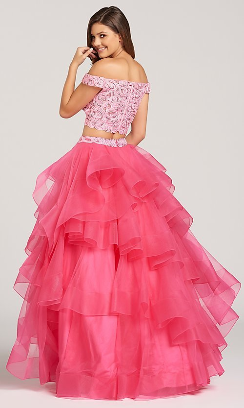 Image of two-piece long prom dress with layered a-line skirt. Style: TB-EW118040 Back Image