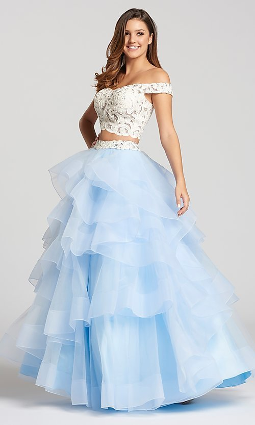 fca62249d88 Image of two-piece long prom dress with layered a-line skirt. Style