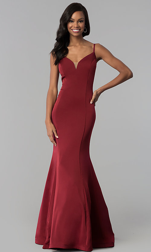 Image of long v-neck satin prom dress by Dave and Johnny. Style: DJ-3139 Detail Image 3