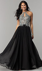Image of high-neck long prom dress with front keyhole cut out. Style: