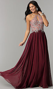 Image of high-neck long prom dress with front keyhole cut out. Style: DJ-3114 Front Image