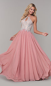 Image of high-neck long prom dress with front keyhole cut out. Style: DJ-3114 Detail Image 4