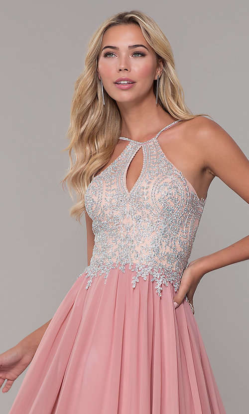 Image of high-neck long prom dress with front keyhole cut out. Style: DJ-3114 Detail Image 6