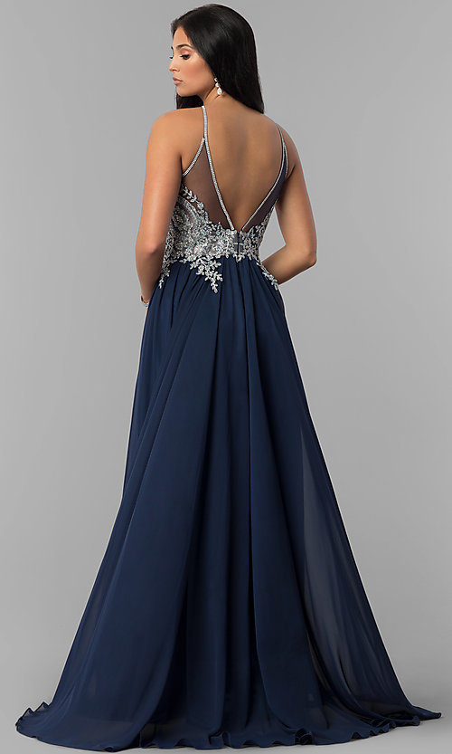 Image of high-neck long prom dress with front keyhole cut out. Style: DJ-3114 Back Image