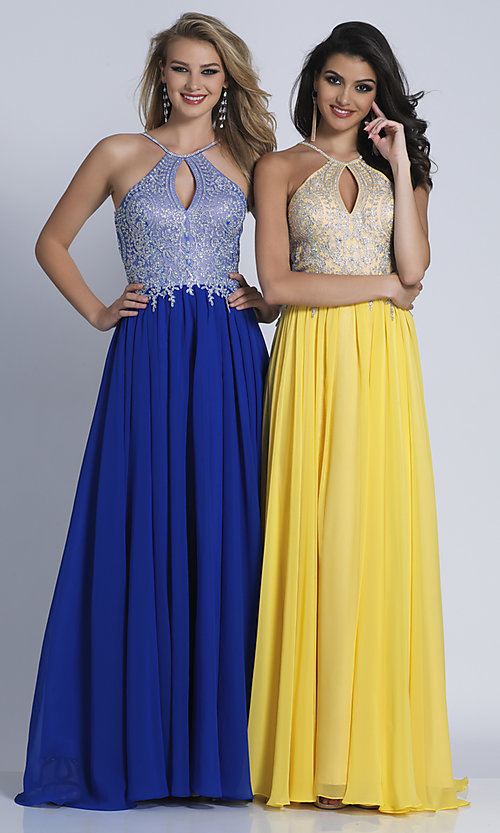 Image of high-neck long prom dress with front keyhole cut out. Style: DJ-3114 Detail Image 7