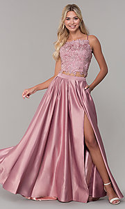 Image of square-neck lace-bodice two-piece long prom dress. Style: DJ-A6394 Front Image
