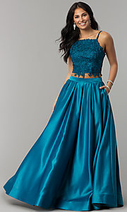 Image of square-neck lace-bodice two-piece long prom dress. Style: DJ-A6394 Detail Image 6