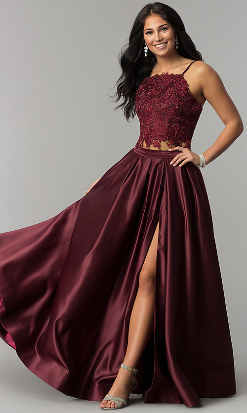 Image of square-neck lace-bodice two-piece long prom dress. Style: DJ-A6394 Detail Image 3