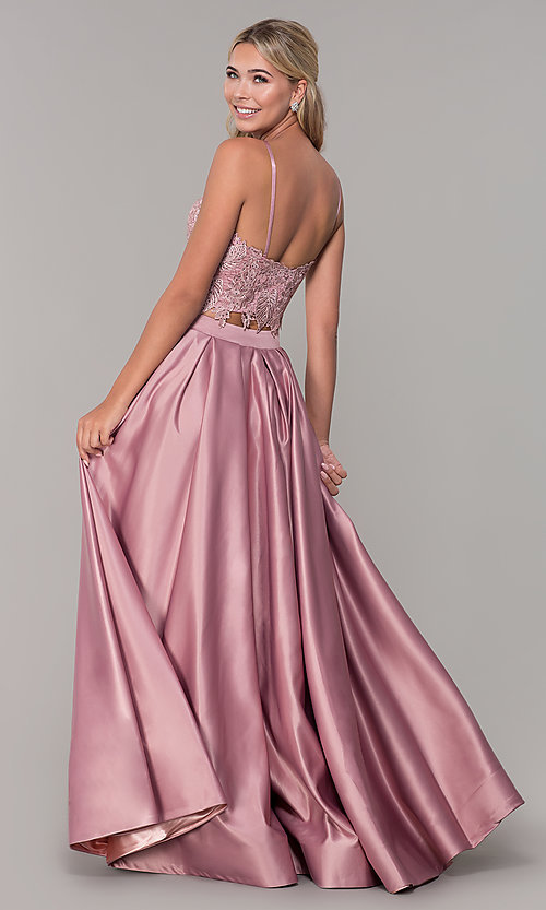 Image of square-neck lace-bodice two-piece long prom dress. Style: DJ-A6394 Back Image