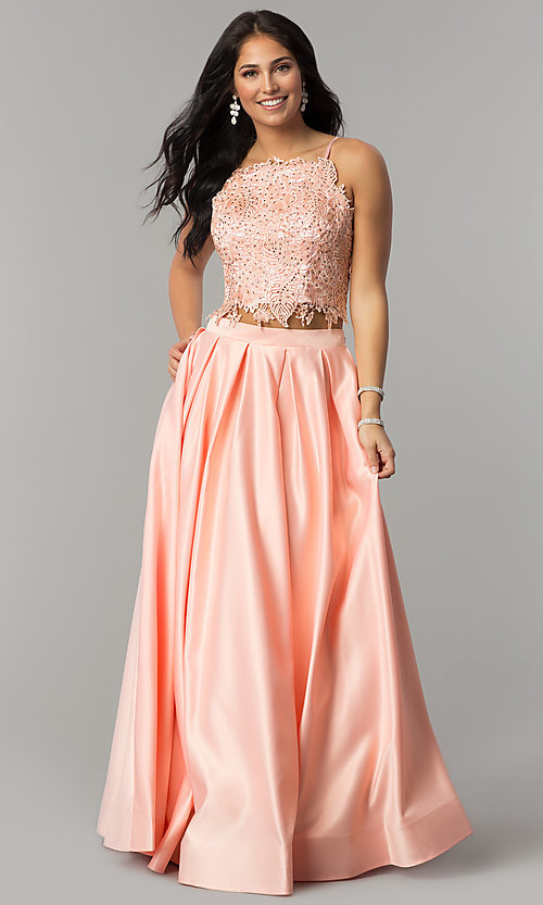 Image of square-neck lace-bodice two-piece long prom dress. Style: DJ-A6394 Detail Image 5