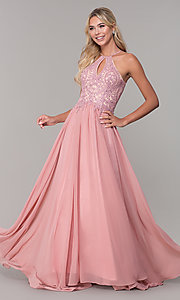 Image of long high-neck prom dress with keyhole cut out. Style: DJ-3250 Front Image