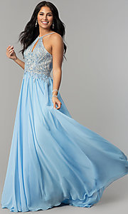 Image of long high-neck prom dress with keyhole cut out. Style: DJ-3250 Detail Image 5