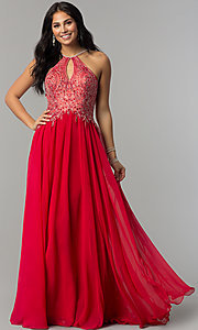Image of long high-neck prom dress with keyhole cut out. Style: DJ-3250 Detail Image 7