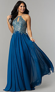 Image of long high-neck prom dress with keyhole cut out. Style: DJ-3250 Detail Image 6
