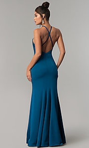 Image of long racer-front Dave and Johnny Prom Dress. Style: DJ-A6426 Back Image