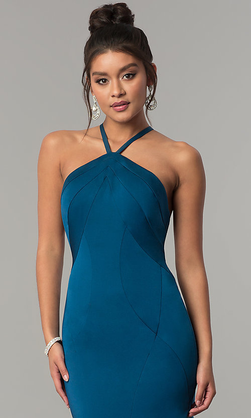 Image of long racer-front Dave and Johnny Prom Dress. Style: DJ-A6426 Detail Image 1
