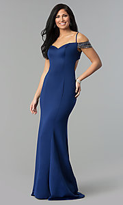 Image of off-shoulder sweetheart long prom dress with straps. Style: DJ-3245 Detail Image 1