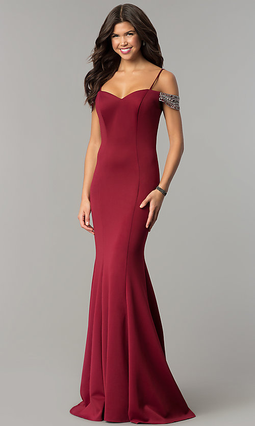 Image of off-shoulder sweetheart long prom dress with straps. Style: DJ-3245 Detail Image 3