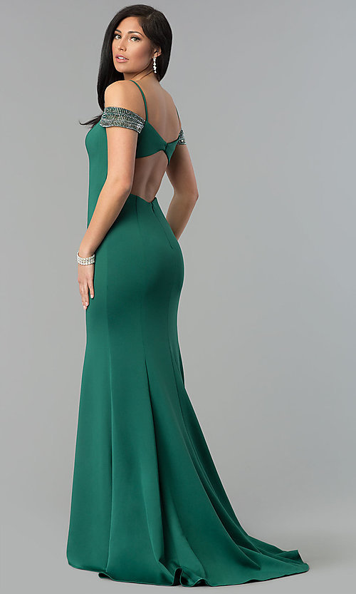 Image of off-shoulder sweetheart long prom dress with straps. Style: DJ-3245 Front Image