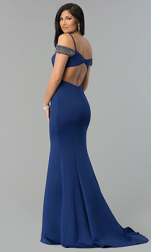 Image of off-shoulder sweetheart long prom dress with straps. Style: DJ-3245 Back Image