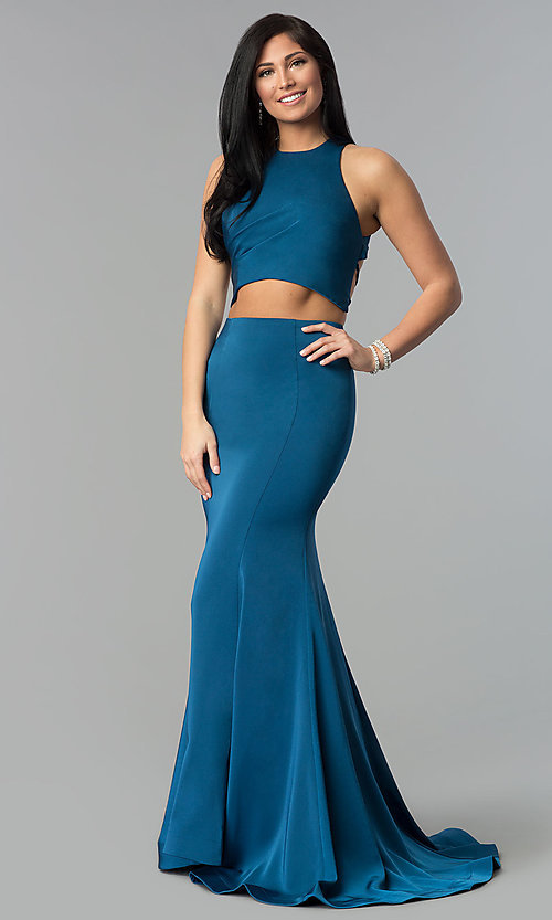 Image of long two-piece prom dress with corset open back. Style: DJ-3247 Front Image