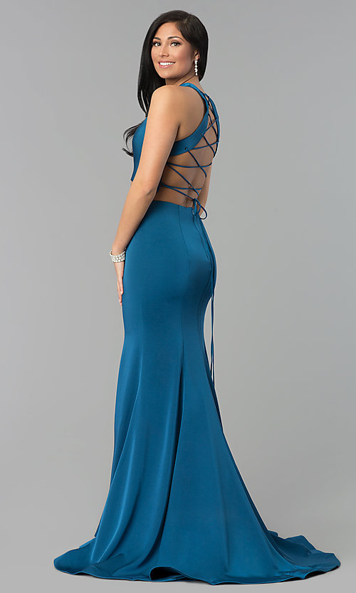Image of long two-piece prom dress with corset open back. Style: DJ-3247 Back Image