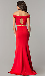 Image of red two-piece off-the-shoulder prom dress. Style: DJ-A6153 Back Image